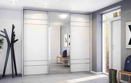 Glass og speil, Garderobe-Mannen, skreddersydd skyvedørsgarderobe, garderobeskap